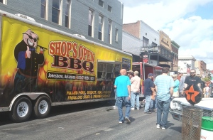 Visitors line up to purchase barbecue. They could also get free samples from contestants.