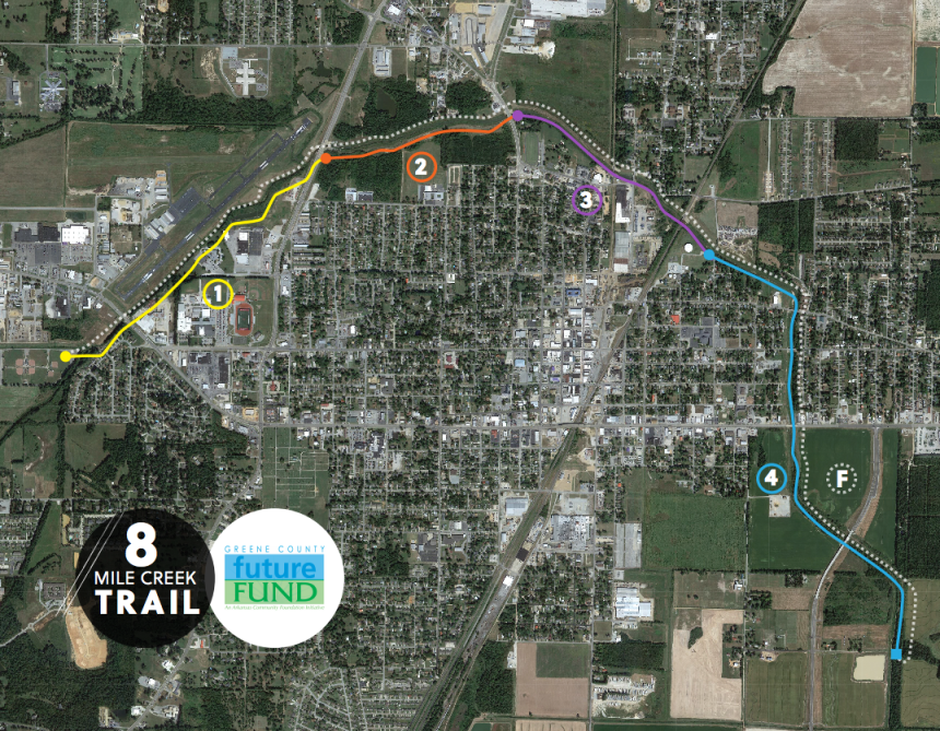 The proposed greenway that would run through Paragould. (Photo courtesy of the Green County Future Fund)