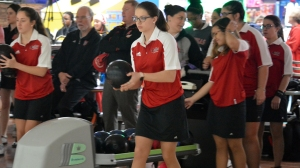 Taylor Davis approaches the bowling lane.